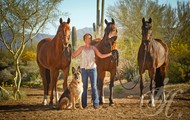 One woman, one dog & three horses!