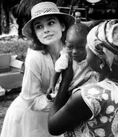 Audrey with one of the kids in Africa