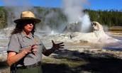 Ranger giving brief description on geysers