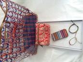 CLear beachbag tote, Pouf, iphone 5/5s case, pink foundation bracelet,Visionary bracelet