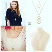 fortuna stone pendant - gold