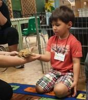 Nicholas petting the dragon.