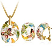 Butterfly Yellow Gold Plated Necklace & Earrings