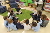 Kindergarten making a human circuit using our Energy Sticks.
