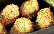 Twice-baked potato with homemade goat cheese or
