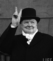 "Winston Churchill Holding Up a ""V"" (Victory)"