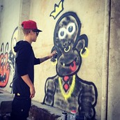 Justin Bieber Defacing a Wall