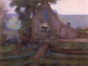 Triangulated Farmhouse Facade with Polder in Blue, c. 1990. Watercolor and gouache on paper.