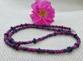 Pink, purple, green necklace