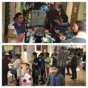 Line wrapped around the corner as Pillow families celebrate Multicultural Night over food!