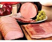 7,500 - lb. ham and bacon.
