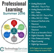 TECHNOLOGY SERVICES SUMMER PROFESSIONAL LEARNING OPPORTUNITIES