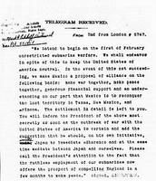 Zimmerman Telegram-  January 11, 1917
