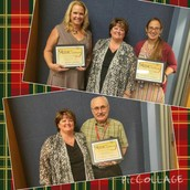Teachers of the Month Nancy Quick and Lilly Monson.  Para of the Month Jerry Cooper
