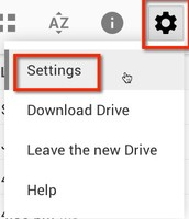 "2. In the upper right hand corner of the new Google Drive is a settings cog. Click on this and choose ""Settings."""