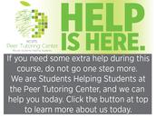 INFORM: Peer Tutoring Center Reminder