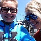 My mom and I on a ferry going to Michigan