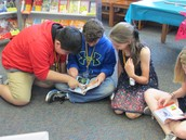 Students enjoying the book selection.