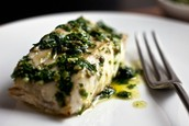 Grilled cod with parsley