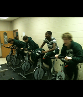 Staff Spin Class-the wrestling boys joined us.