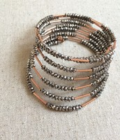 Bardot Spiral Bangle- Rose Gold Sparkly