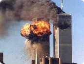 The World Trade Center during the 9/11 attacks.
