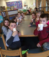 Hot chocolate and reading with Mrs. Goldberg!