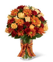 Standard Arrangement with Roses and Sunflowers
