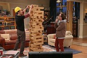 Sheldon playing jenga