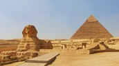 This is The sphix and the pyramid of Giza
