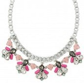 CALLIE NECKLACE - PINK/SILVER  $98