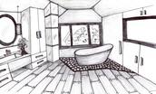 Sketch of a bathroom resigned