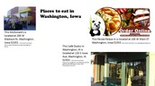 Places to eat in Washington, Iowa