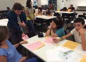 Teachers, administrators and others facilitate math activities