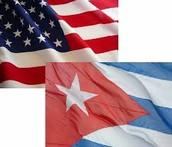 La bandera de Estados Unidos y Cuba.