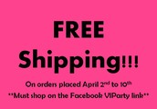 FREE Shipping for online orders placed April 2-10