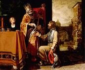 דוד מוסר את הפתק לאוריה החיתי בו כתוב לשלוח אותו לחזית הקרב (דוד רצה שימות)