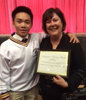 Ms. Simpson with former student Roman Guinto