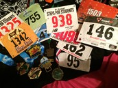 Race bibs and medals