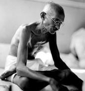 This is Gandhi starving refusing to eat British food.