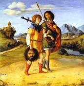 דוד הולך עם יהונתן כשבידו אוחז בראשו של גוליית