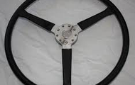 the 1930's sterring wheel with a leather out look