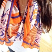 Union square scarf- fresh tangerine mixed print