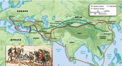 Map of the  most common used trade routes in the 1400s
