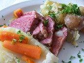 Corned beef with vegetables, a traditional Irish meal