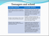 Teenagers and school