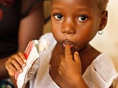 This child is enjoying a Nutrition filled packet