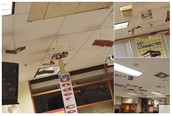 Flying Books created at Literacy Night. Posters and book jackets on the ceiling.