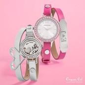 Leather Wrap Bracelet with Watch or Twist Locket