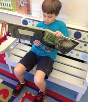 Nathan reading about dinosaurs.